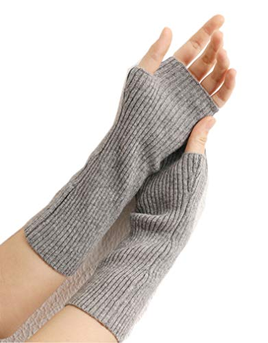 prettystern mid-lange Kaschmir Pulswärmer Arm-Stulpe fingerlose Ripp-Strick Handschuhe Grau