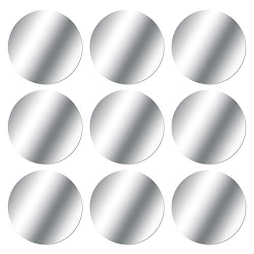 MOSUO 9 Piezas Láminas Metálicas (9 Redondas) Muy Finas Placas Metálicas con 3M Adhesivo para Soporte Movil Coche Magnético/Iman para Movil Coche y Otros Productos de imán - Plata