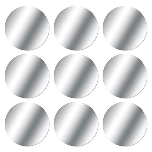MOSUO 9 Pezzi Placche Metalliche Adesive (9 Tonde) Piastra Metallo con Adesivo 3M Universale per Supporto Magnetico Auto/Porta Cellulare da Auto Calamita e Altro Prodotti con calamita, Argento