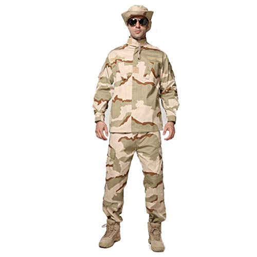 MKJYDM Camouflage Herren Multi-Pocket Camouflage Hose Bergsteigen Wear Outdoor Wear 2 Stück Set Jagd Langarm Shirt Camouflage (Größe:XL/180-185/90kg)