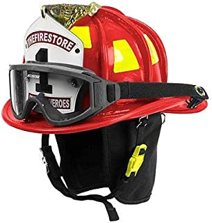 Cairns Red N6A Houston Leather Fire Helmet - Red, Large, ESS Innerzone 2 Googles & NFPA Bourkes
