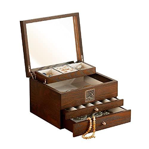 N\C Caja de almacenamiento de joyería para mujer, caja de almacenamiento de madera, caja de almacenamiento de 4 capas con 3 cajones 3 (nuez)