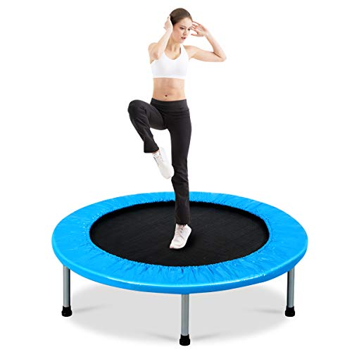 COSTWAY Mini Trampoline Set, 38' Foldable Fitness Bouncer with Padding & Springs Elastic Safe for Indoor Outdoor Exercise Workout, 150kg Weight Capacity (Light Blue)
