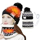 Prevessel Ensemble de bonnet, écharpe chauffante électrique USB, bonnet...