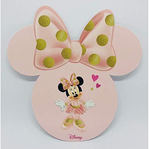 Publilancio Srl 20Pz Disney Minnie Bailarina Tarjeta Invitación o Decoración de 12 CM