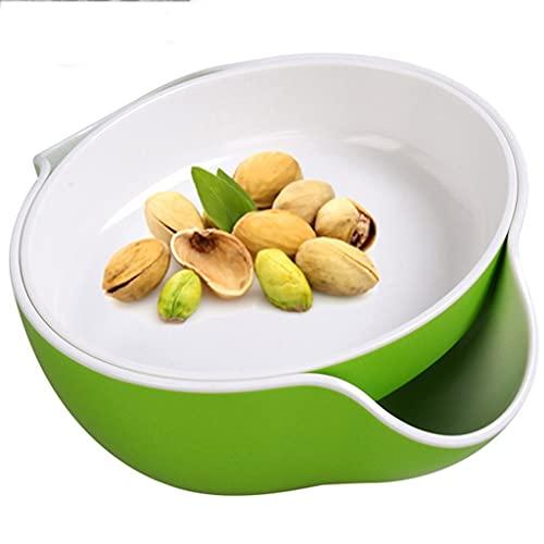 KMDB Pistacho Bowl - Cuenco Doble de la Tuerca del Plato con el Almacenamiento de la cáscara para los pistachos, los Cacahuetes, Las Frutas, los bocados y Las nueces - Verde