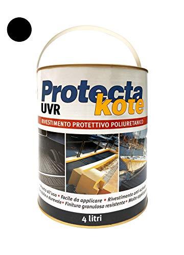 PROTECTAKOTE UVR Nero Liscio 4L, Rivestimento Protettivo Impermeabilizzante E Antiscivolo; Poliuretanico Monocomponente, per Proteggere Piatto Doccia per Roulette, Camper, E Veicoli in Genere.