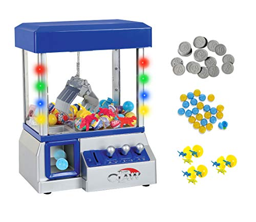TSF TOYS Claw Game Machine-Kids Mini Arcade Grabber- Toy Candy Dispenser Crane Toy Great Gift for Birthday & Christmas -with LED Lights and Adjustable Sound Switch–Bonus 24 Prizes (Blue)