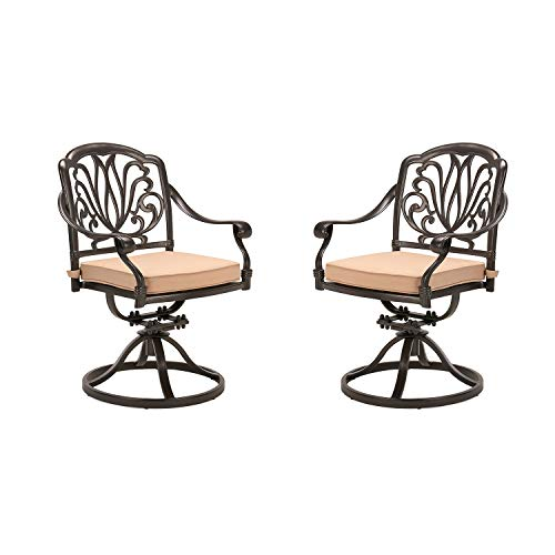 CW Chair Patio Set of 2 Cast Aluminum High Back Rocker Cushion, Metal Swivel Outdoor Dining Chair for Lawn Garden Backyard Weather Resistant, Dark Brown