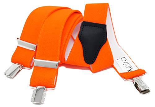 Xeira Hosenträger für Damen stabilen 3 Clips und echt Leder Rückenteil (110cm, Neon Orange)