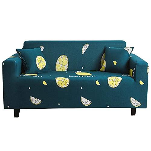 WLVG Fundas de sofá 1 2 3 4 plazas Limón Funda elástica en forma de L para sofá sofá cama cama perro gato 90 – 140 cm