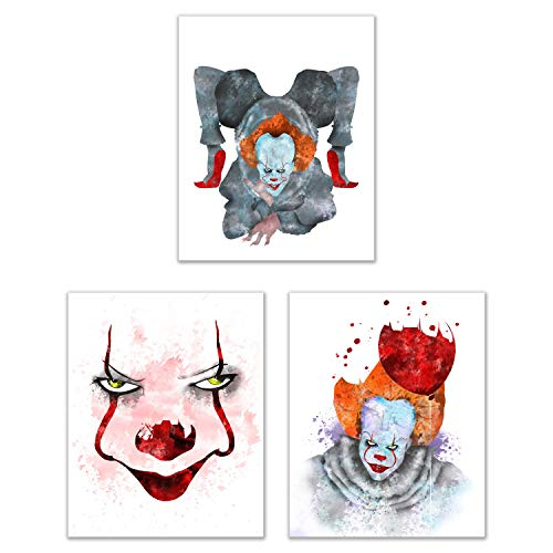 Stephen King's IT Prints - Set of 3 (8 inches x 10 inches) Watercolor Clown Photos