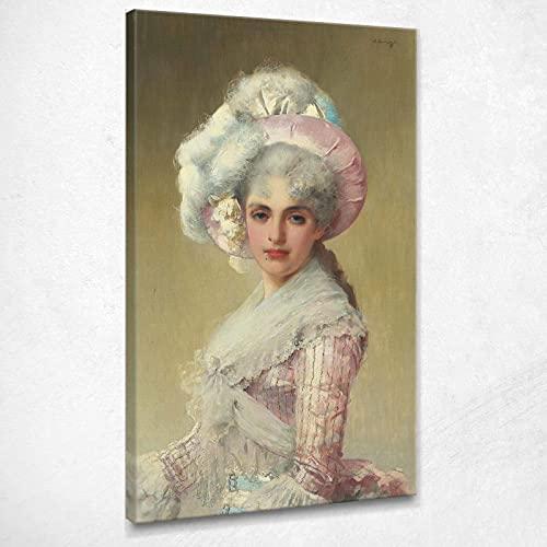 CIQUADRO Una elegante señora con vestido y sombrero rosa de Corcos Vittorio Quadro Vmc6, 100 x 60 cm
