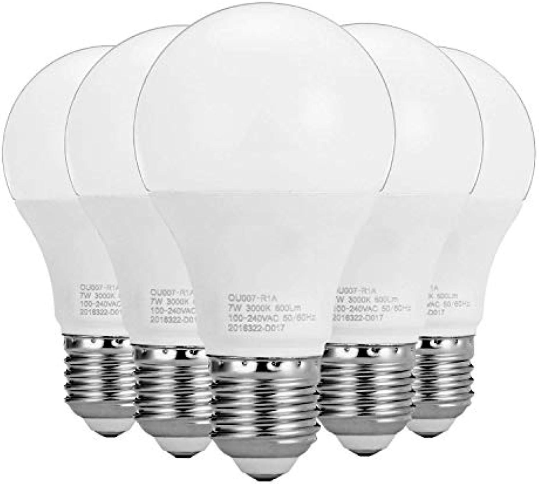 FuweiEncore Light 5PCS E27   E26 7W 16LED 2835SMD 600-700Lm warme weie kalte weie SMD LED Kugel-Licht (Wechselstrom 100240V) (Farbe   Warmes Wei) (Farbe   Warmes Weiß)
