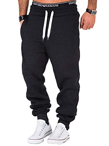REPUBLIX Herren Sporthose Jogger Jogginghose Sweatpants Trainingshose R0704 Anthrazit/Weiß XL