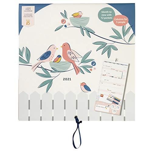 BusyB - Großer Familienkalender von Januar bis Dezember 2021 - Vögel, Kalender mit Monatsansicht und 6 Spalten für Familienmitglieder & Geburtstage, Monatstaschen, Aufkleber & Urlaubsplaner