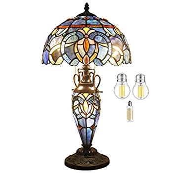 Tiffany Style Lamp  3LED Bulb Included  Stained Glass Bedside Table Night Light Antique Base W12H22 Inch Blue Purple Cloud Reading Lampshade S558 WERFACTORY LAMPS Lover Living Room Bedroom Office Desk