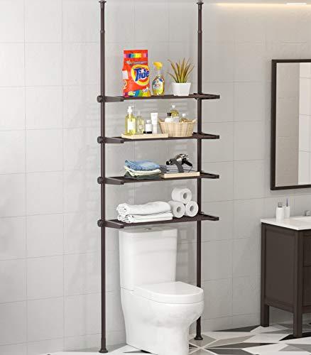 ALLZONE 4 Tier Bathroom Organizer, Over The Toilet Storage Shelf, 4 Positonable Shelves, Pole Height Adjustable 92-116 Inch, Oil Bronze