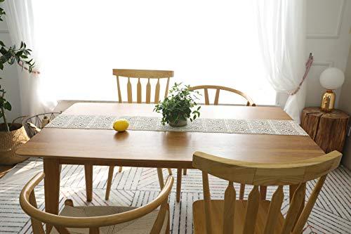 Shopdp 手作りのかぎ編み テーブルランナー 食卓カバー インテリア ボヘミア風 北欧 タッセル付き (24×140cm)