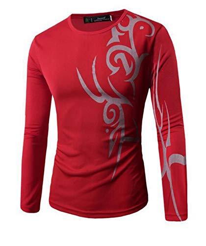 shenme Casual elástico de Manga Larga T de Manga Larga Slim Fit impresión suéter de Cuello Redondo Camisetas básicas Diseñado Suaves y Ligeros Camisa (Color : Red, Size : Medium)