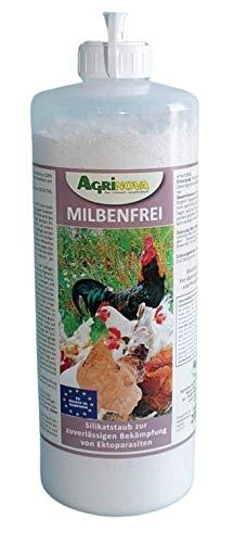 Agrinova Milbenfrei 200g Hochreine amorphe Kieselgur gegen alle Arten von Vogelmilben EU-Biozid-konform (in der 1-Liter-Stäubeflasche)