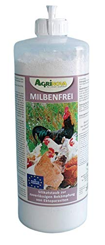 Agrinova Milbenfrei (1-Liter-Stäubeflasche) 200g Hochreine amorphe Kieselgur gegen alle Arten von Vogelmilben EU-Biozid-konform
