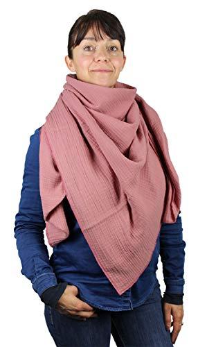 XXL Musselin Tuch Schal 100% feine Baumwolle 130x130 cm Damenhalstuch Halstuch Musselintuch Musselin Damen Herren Männer Frauen Farbe Altrosa