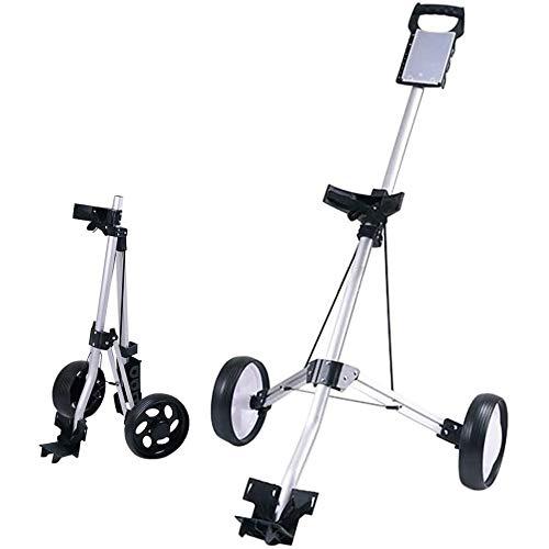 2 Räder Golftrolley, Golfwagen Professional, Golfball Set Aus Aluminium, Klappbarer Golf Wagenzum Schieben Und Ziehen, Golf Cart Verstellbarem Griff,Silver