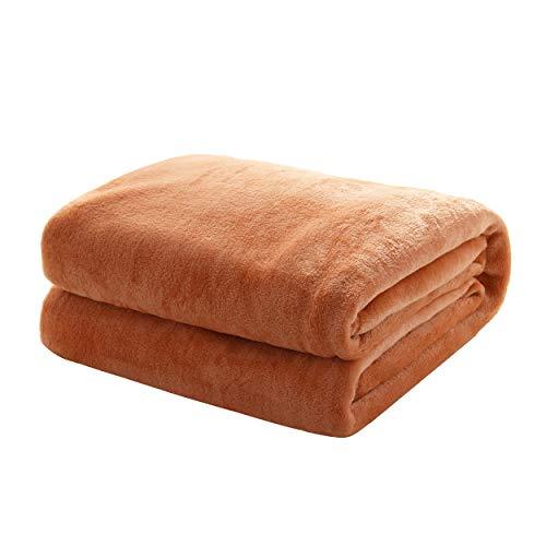 Mixibaby Kuscheldecke Flauschige extra weich und warm Wohndecke Flanell Fleecedecke, Falten widerstandsfähig/Anti-verfärben als Sofadecke oder Bettüberwurf, Größe:150 cm x 200 cm, Farbe:Hellbraun