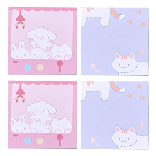 HOTPINK1 4 unids lindos animales de la historieta de la almohadilla de notas pegajosas de la escritura de las almohadillas de la etiqueta de la marca de las etiquetas de Kawaii papel
