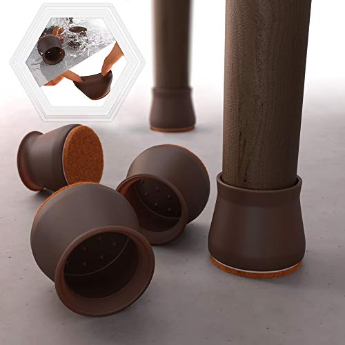 16 PCS Dark Walnut Color Silicone Chair Leg Floor Protectors with Felt Pads-Silicon Protection Cover Protect Furniture & Floors from Scratches with Felt Chair Leg Floor Protectors That Won't Fall Off