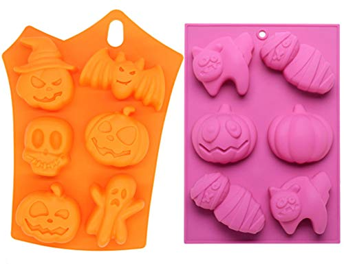Halloween Silicone Baking Molds, 2pcs Non-Stick 3D Pumpkin Chocolate Mould Mummy Ghost Candy Molds for Kitchen DIY Baking Mousse, Muffin Cake Decoration, Soap Making, Chocolate