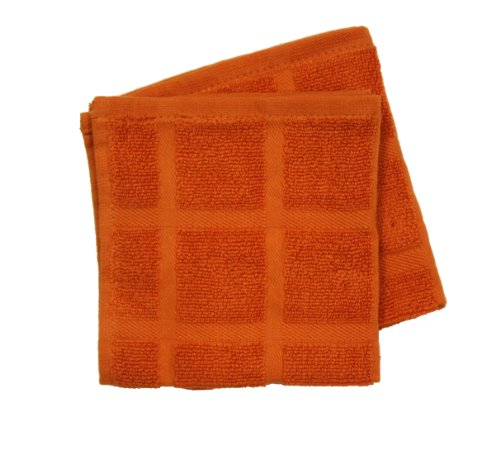 Ritz Kitchen Wears Egyptian Cotton Collection 2-Piece Solid Dish Cloths, Carrot