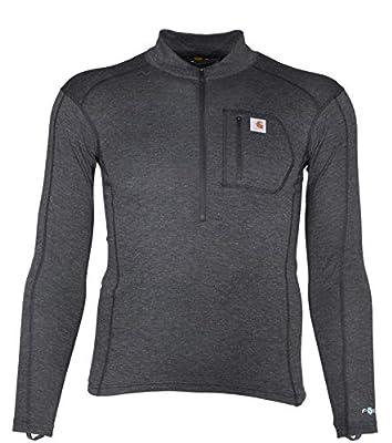 Carhartt Men's Force Tech Quarter-Zip Thermal Base Layer Long Sleeve Shirt, Black Heather, X-Large