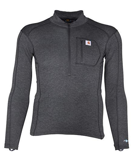 Carhartt Men's Size Force Tech Quarter-Zip Thermal Base Layer Long Sleeve Shirt, Black Heather, Large Tall