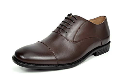 Bruno MARC DP06 Men's Formal Modern Leather Wing Tip Loafers Lace Up Classic Lined Oxford Dress Shoes DARK BROWN SIZE 11
