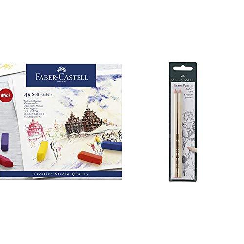 Faber-Castell 128248 - Estuche de cartón con 48 tizas pastel, mini, multicolor + 185698 - Blister lápices goma para borrar, con precisión