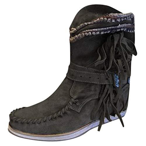 DOLDOA Damen Stiefel Flats Thick Bottom Schuhe Round Toe Retro Fringe dicken Boden Stiefeletten Schwarz, Blau, Braun
