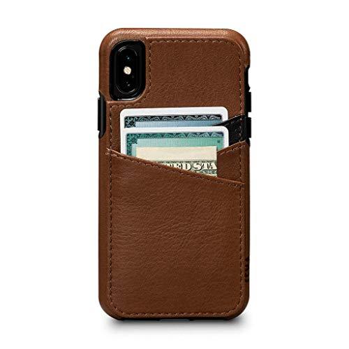 SENA Cases, Lugano Wallet Dress Your Tech in stylischer Lederhülle für Apple iPhone Xs/X (5,8 Zoll), Sattel