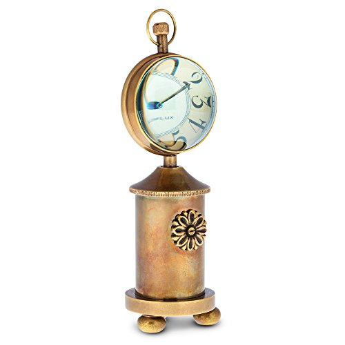 """Universal Lighting and Decor Charlotte 6 1/2"""" High Antique Brass Stovepipe Table Clock"""