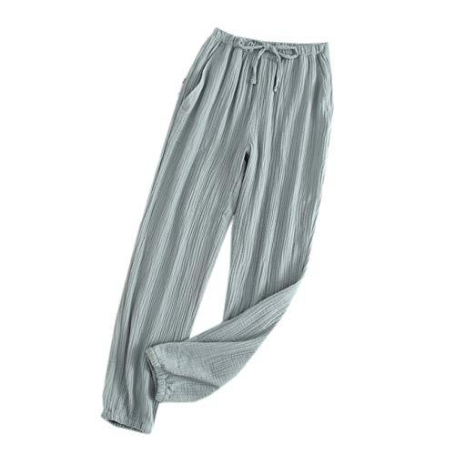 Pantalones Caseros Sueltos De AlgodóN De Verano para Hombres Y Mujeres Pantalones De Pijama De Crepé De AlgodóN Cerrados Amantes De AlgodóN Sueltos