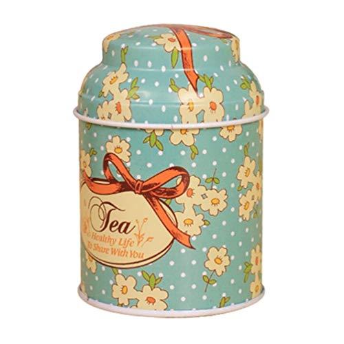 Ogquaton - Scatola di latta per tè, motivo floreale, stile vintage, per zucchero, caramelle, biscotti, barattoli