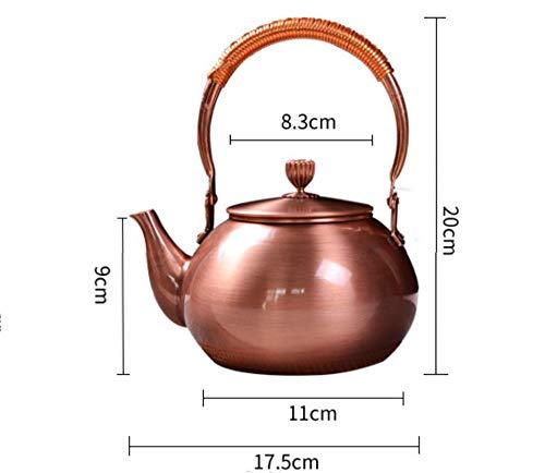 TYURC 1.2L olla de cobre tetera tetera juego de té artículos de cobre olla tetera-1.2L