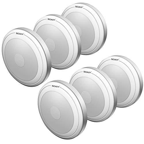 [neue Version] SOAIY 6 Stück LED Nachtlicht mit Touchsensor Dimmbar Batteriebetrieben Touch Lampe Schrankleuchte Küchenlampe Memory-Funktion Kaltweiß 5000K