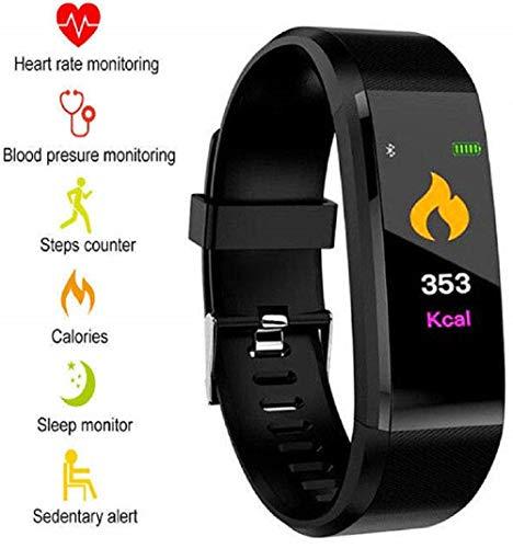 Fitness Tracker Armband mit echtem Pulsmesser, Schrittzähler, Kalorienverbrauch, Schlafmonitor und Blutdruck-Messung. IP67 Fitness-Trackers sind wasserdicht für Damen, Herren und Kinder (schwarz)