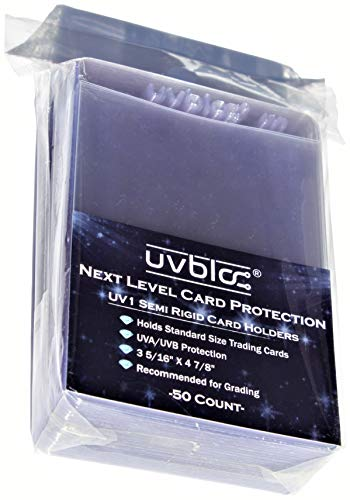 UVBloc UV1 Semi Rigid Baseball Trading Card Sleeves (50 Count) Holder Protectors