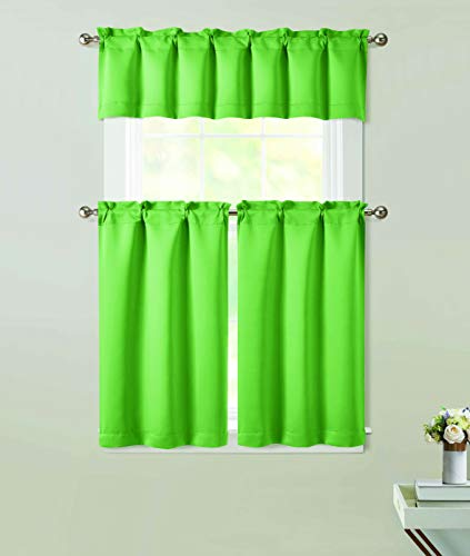 Thermal Woven Blackout Curtains for Living Room Panels Sound Dampening Curtains Grommet Solid Door Shade Drapes Window Treatment Sliding Door Matte(Lime Green,27 X 36 Tiers 54 X 15 Valance)