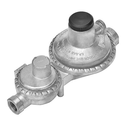 only fire Vertical Two Stage Propane Regulator for Propane Tank, 1/4' Female NPT Inlet and 3/8'...