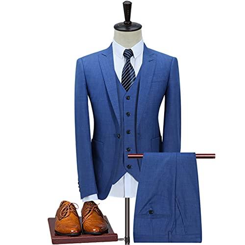 LEPSJGC メンズスリーピースビジネスパーティースーツピークラペルシングルバックルウェディンググルームドレスメンズブレザースーツパンツベスト (Color : Blue, Size : M code)
