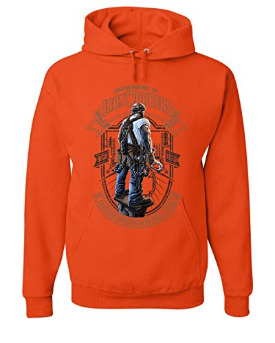 Tee Hunt Brotherhood of Ironworkers Hoodie Blue Collar Job Construction Sweatshirt Orange M